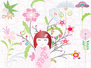 Traditional Clothing Framed Prints - An Illustration Of A Japanese Style Doll With An Array Of Different Flowers In The Background Framed Print by Neslihan Rawles
