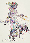 Pet And Owner Prints - An Illustration Of A Woman And Animals Made Up Of A Collection Of Colorful Fragments Print by Nikolai Larin