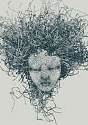Human Head Art - An Illustration Of A Womans Head Made Up Of A Collection Of Grey Dots by Nikolai Larin