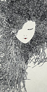 Human Head Art - An Illustration Of A Womans Head With Long Thick Hair Made Up Of A Collection Of Grey Dots by Nikolai Larin