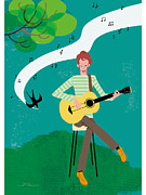 One Person Digital Art - An Illustration Of A Young Man Playing The Guitar In A Field by Kayano