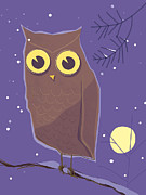 Looking At Camera Digital Art - An Illustration Of An Owl Perched On A Tree Branch At Night by Rocco Baviera