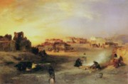 Cooking Painting Prints - An Indian Pueblo Print by Thomas Moran