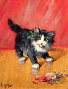 Kitten Painting Framed Prints - An Innocent Look  Framed Print by Leon-Charles Huber