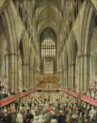 Edwards Framed Prints - An Interior View of Westminster Abbey on the Commemoration of Handels Centenary Framed Print by Edward Edwards