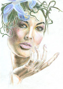 Pastels Portait Of An Inviting Model Prints - An inviting model Print by Fabio Cicala