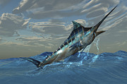 Tropical Fish Posters - An Iridescent Blue Marlin Bursts Poster by Corey Ford