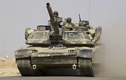 Operation Iraqi Freedom Posters - An M1a1 Abrams Tank Heading Poster by Stocktrek Images