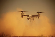 Mid-air Prints - An Mv-22 Osprey Aircraft Blows Dust Print by Stocktrek Images