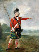 Bayonet Painting Prints - An Officer of the Light Company of the 73rd Highlanders Print by Scottish School