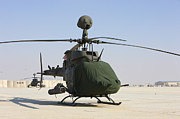 Airfield Prints - An Oh-58d Kiowa Warrior Helicopter Print by Terry Moore