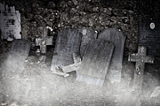 Cemetery Photo Posters - An Old Cemetery With Grave Stones And Fog Poster by Joana Kruse
