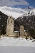 Engadin Valley Posters - An Old Church And Tower Nestled Poster by Taylor S. Kennedy