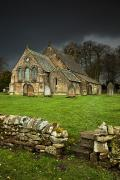 Head Stones Posters - An Old Church Under A Dark Sky Poster by John Short