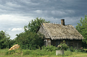Chimneys Posters - An Old Farmhouse With A Thatch Roof Poster by Klaus Nigge