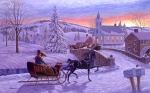 Church Painting Originals - An Old Fashioned Christmas by Richard De Wolfe