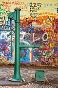 Pump Prints - An Old Pump and Lennon Wall in Prague Print by Hideaki Sakurai