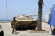 Libyan Framed Prints - An Old Russian Bmp Armored Personnel Framed Print by Andrew Chittock