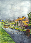 Storm Clouds Drawings Prints - An Old Stone Cottage in Great Britain Print by Carol Wisniewski
