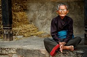 Photojournalism Prints - An Old Woman in Bhaktapur Print by Valerie Rosen