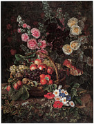 Peach Painting Prints - An Opulent Floral Still Life with Fruit Print by Johan Laurentz Jensen