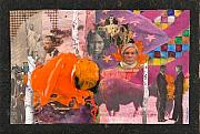 American Flag Mixed Media Originals - An Orange Bison In America by Mark Lubich