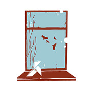 Illustration Technique Art - An Origami Bird Sitting Next To A Window With Birds Flying Outside by Bea Crespo