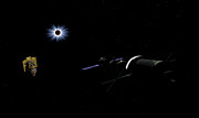 Solar Eclipse Digital Art Metal Prints - An Orion Class Crew Exploration Vehicle Metal Print by Walter Myers
