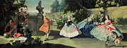 Dancing Framed Prints - An Ornamental Garden with a Young Girl Dancing to a Fiddle Framed Print by Filippo Falciatore
