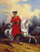 Orientalists Posters - An Ottoman on Horseback Poster by Charles Bellier