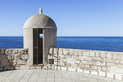 Building Feature Photo Prints - An Outpost Overlooking The Adriatic Sea Print by Greg Stechishin