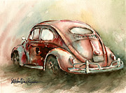 Vw Posters - An Oval Window Bug in Deep Red Poster by Michael David Sorensen