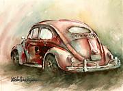 An Oval Window Bug In Deep Red Print by Michael David Sorensen