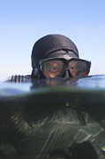 Diving Suit Prints - An Over Under View Of A Navy Seal Print by Michael Wood