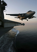 Aircraft Carrier Prints - An S-3b Viking Clears The Flight Deck Print by Stocktrek Images