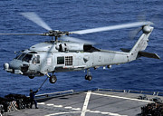 Abraham Lincoln Color Art - An Sh-60b Seahawk Helicopter Performs by Stocktrek Images