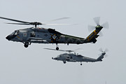 Helicopter Art - An Sh-60f And Hh-60h Seahawk Helicopter by Stocktrek Images