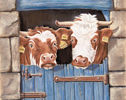 Farm Animals Pastels Prints - An Udder Fine Mess Print by Vanda Luddy