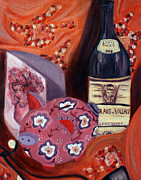 Wine Paintings - Analogous still life by Hannah Curran