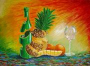 Champagne Paintings - Ananas in Champagne by Les BREUS