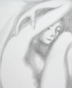 Feminine Drawings Originals - Anastasia Close-Up by Marat Essex
