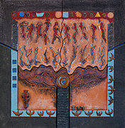 Sacrificial Victim Ceramics Acrylic Prints - Ancestral Chart- ancient early - Hunters Gatherers - Chasseurs Cueilleurs - Cazadores Recolectores  Acrylic Print by Urft Valley Art