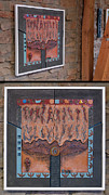 Animal Ceramics Metal Prints - Ancestral Chart- Hunter Gatherers - Jakt og Sanking - Jaegara Samlare - Sammler Jaeger Metal Print by Urft Valley Art