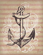 Featured Mixed Media Metal Prints - Anchor Metal Print by Adrienne Stiles