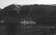 Sailing Ships Originals - Anchored Off Santorini. by Terence Davis