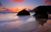 Sunset Seascape Prints - Anchoring the Beach Print by Mike  Dawson
