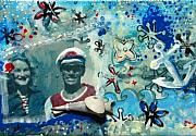 50s Mixed Media - Anchors Aweigh - Miniature Art by Jennifer Kelly