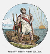 Briton Art - Ancient Briton And Coracle by Granger