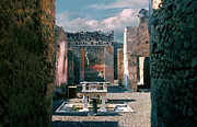 Ancient Pyrography Framed Prints - Ancient city of Pompeii Framed Print by Jan Vidra