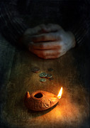 Coins Posters - Ancient Coins and Oil Lamp Poster by Jill Battaglia